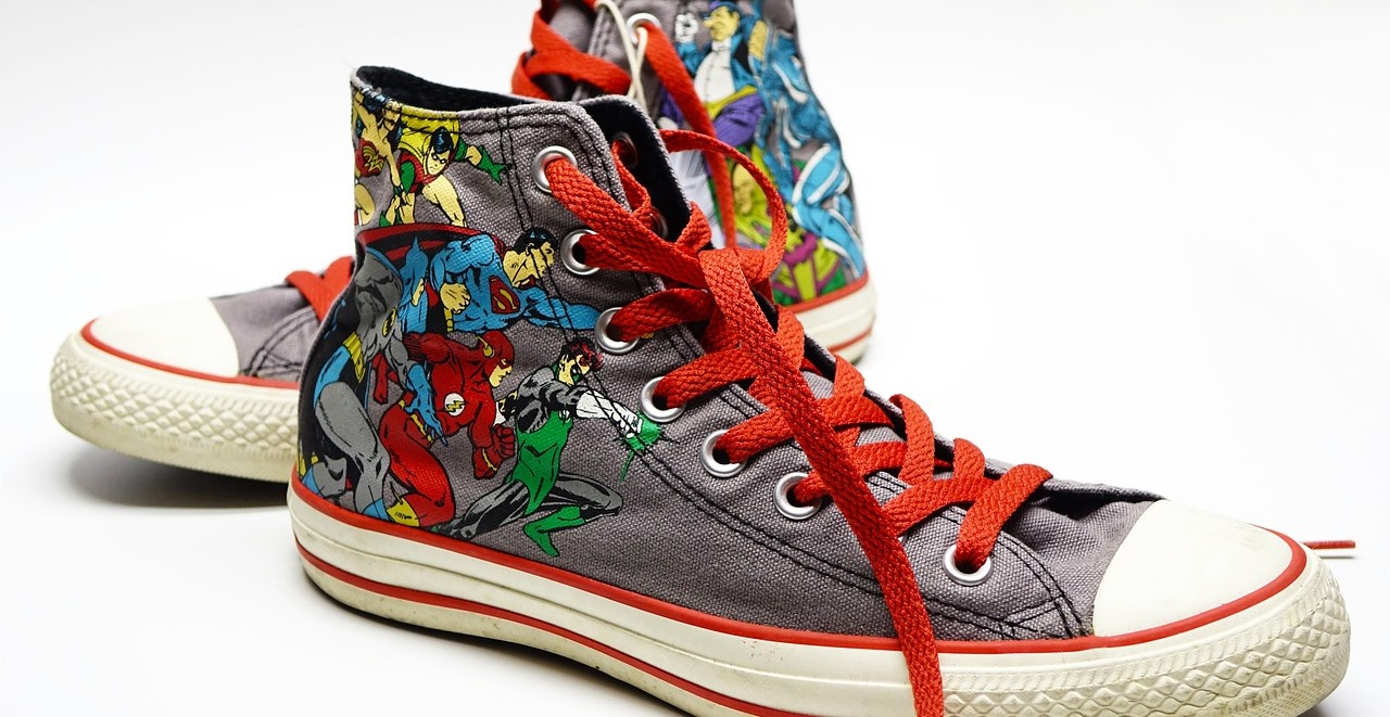 casual Friday hightops with superhero graphic
